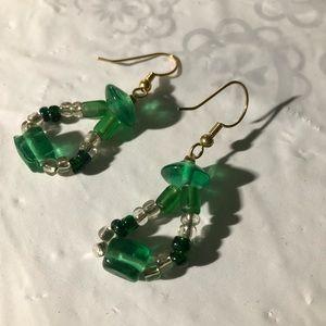 Handmade-green hoop earrings